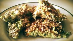 Low-carb zucchini-egg bake omelette with sunflower seeds