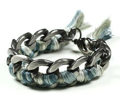 {Charcoal and Blue Autumn Braid} love this bracelet by Alimonada