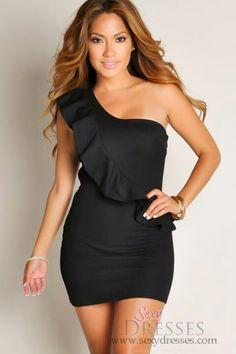 91e298066b Sexy black Over The Shoulder Dress