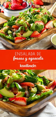 Ensalada de Fresas y Aguacate - Unkempt Tutorial and Ideas Veggie Recipes, Salad Recipes, Vegetarian Recipes, Cooking Recipes, Healthy Recipes, Clean Eating Snacks, Healthy Snacks, Healthy Eating, Easy Summer Salads