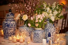 The Enchanted Home: Random musings and a blue and white giveaway!  I love the mix in the blue and white.  organic shapes and different amounts of blue, dark and light.