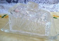 Vintage Pressed Glass Butter or Cheese Dish