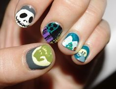 Nightmare Before Christmas inspired nails | Disney Nails | Disney Nail Art | Disney Nail Designs | Disney Nails DIY | Disney Nail Ideas |