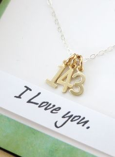 143 I Love You necklace - simple Sterling Silver necklace, Gold Love Message, best friends, sisters, mum, lover, gold number necklace, www.glitzandlove.comI MUST FIND THIS!@jencapron, @ Emma Sainsbury, @gracesainsbury
