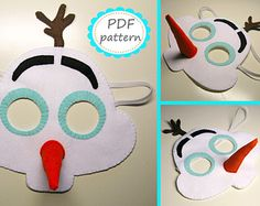 PDF PATTERN: Snowman Olaf felt mask - DIY - frozen party costume sewing tutorial - Christmas mask for kids and adults - Instant Dawnload