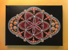 "Original Dot Art Painting - Circle of Life - Sunset - Free Postage in Australia only (7"" x 5"" Canvas)"
