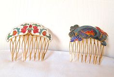 Vintage Asian enamel haircombs by houuseofwren on Etsy