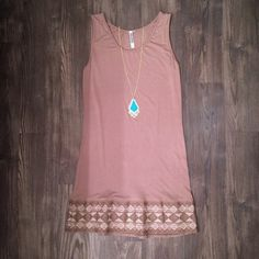 """Versona Monoreno Aztec Tank Dress / Long Top NWOT boutique tank dress for petite or long top for taller women. Beautiful and versatile taupe / tan color with embroidered aztec print on bottom. Stretchy! Without being stretched measurements are 15""""W x 32""""L 95% rayon 5% spandex Versona Dresses Mini"""