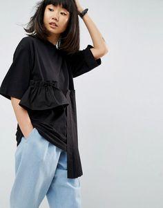 ASOS WHITE Oversized T-Shirt With Laid On Ruffle And Pleat Hem - Black