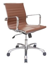 Joplin Series European Styled Brown Leather Office Chair with Polished Frame by Woodstock