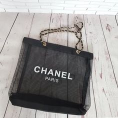 5316ddf078be Chanel Paris Logo Black Mesh Gold Hardware Makeup Organiser Beach Tote  Shopping Bag VIP GIFT