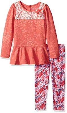 Nannette Little Girls 2 Piece Fashion Legging Set with a Lace Overlay Coral 4 ** Find out more about the great product at the image link.Note:It is affiliate link to Amazon.