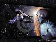 Looking through a window of a spatial station, close to a planet, a robot looks at an arriving spaceship.