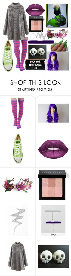 """""""Toxi (My Sister's OC)"""" by dappershadow ❤ liked on Polyvore featuring Converse, Rock 'N Rose, Bobbi Brown Cosmetics, NYX and Krystal"""