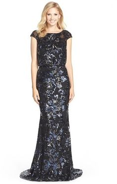 $695, Badgley Mischka Floral Sequin Blouson Gown. Sold by Nordstrom. Click for more info: https://lookastic.com/women/shop_items/334380/redirect