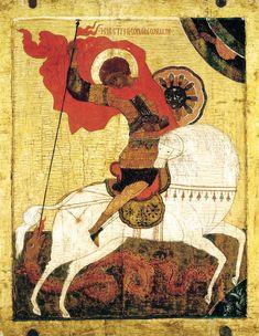 St. George the Dragon-slayer, 15 century Novgorod icon