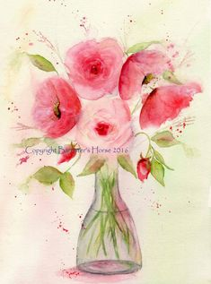ROSES & POPPIES, fine art, Giclee Watercolour Painting Print A4. Archival…