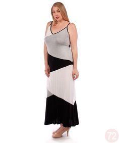 Belle Donne Women's Plus Size Color Block Maxi Dresses