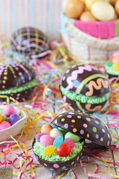 """Brownie-Filled Chocolate Easter Eggs ~ via this blog, """"Oh Nuts! Sweet & Crunchy Blog""""."""