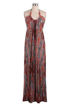 Red Halter Bohemian Style Print Full-Length Dress #SheInside
