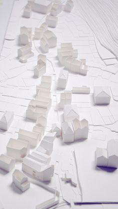 onin bidea by eleumi, via Flickr Landscape Architecture Model, Urban Architecture, Concept Architecture, Architecture Drawings, School Architecture, Presentation Techniques, White Building, Arch Model, Paper Models