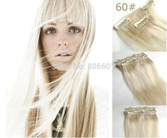 "wholesale 24"" 32"" 12pcs thick 240g 100% real remy clips in/on human hair extensions #60 Platinum Blonde free shipping-in Clip in Hair Extens..."