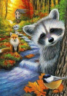 AUTUMN BY THE OLD MILL - Rafaella and her little woodland friends are exploring by the old mill on a beautiful autumn day in the forest. Wildlife Paintings, Animal Paintings, Animal Pictures, Cute Pictures, Raccoon Art, Christmas Paintings On Canvas, Cute Animal Drawings, Watercolor Animals, Cat Art