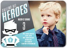 Calling all heros- this party invitation is for you. Shop hero inspired kid's birthday party invitations and more at Tiny Prints today. Create Birthday Card, Personalized Birthday Invitations, First Communion Invitations, Kids Birthday Party Invitations, Unique Invitations, Baby Shower Invitation Wording, Baby Shower Invitations For Boys, Tiny Prints, Capes