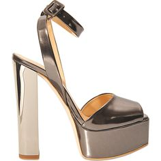 Giuseppe Zanotti Sandal with platform (785 TND) ❤ liked on Polyvore featuring shoes, sandals, silver, metallic leather sandals, ankle tie sandals, high heel sandals, leather platform sandals and ankle strap sandals