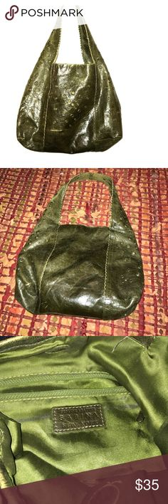 """Genuine Leather Olive Green Sabina hobo bag Great condition inside and out. Gold small circle details 12x14w. Strap size 12"""". Sabina Bags Shoulder Bags"""