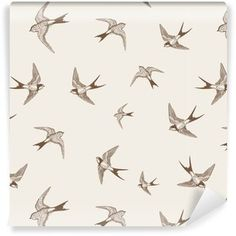 pattern with swallows, vintage wallpaper, self-adhesive, removable wall mural, birds print