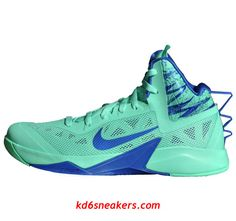 05a9feef5cc22 Nike Zoom Hyperfuse 2013 Green Glow blue green Basketball shoes . cheap  sale New Nike Sneakers