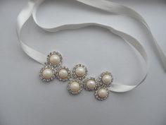bracelet de perles mariée ruban nuptiale strass cristal Bracelet Bracelet manches strass mariée : Bracelet par binnur-yildirim