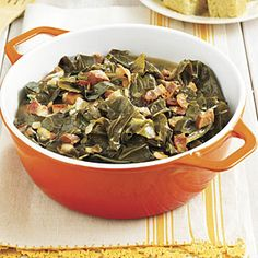Southern-Style Collard Greens    Slow-cooking collards with pork makes them mouthwatering and tender. Their soul-warming taste can be perfected only with the addition of vinegar.    Be sure to save a few uncooked greens to tack to the ceiling for good luck or hang over the door to ward off evil spirits.