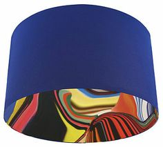 Blue Retro 60's Pop Designer Drum Lampshade