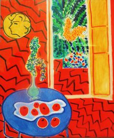 'Roodinterieur; stilleven op blauwe tafel' uit 1947. Zigzaggende lijnen overheersen het oppervlak van dit werk. Zelden werden patronen zo abstract bij Matisse. De lijnen werker de dieptewerking van de ruimte tegen doordat ze overal kriskras doorheen lopen. Het gele medaillon aan de muur is een portret van Camille Joblaud, de moeder van zijn dochter. Het keert regelmatig terug in de laatste schilderijen van Matisse.