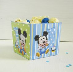 Mickey Mouse 1 bday favor box - Mickey Mouse favor printable - First birthday - Mickey Mouse 1 st birthday popcorn box  -  Instant Download by HappywithPrintables on Etsy