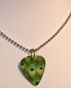 peacock guitar pick necklace by StudioArtGirlPam on Etsy, $10.00.  Wwwaaannnntttt!!!!!