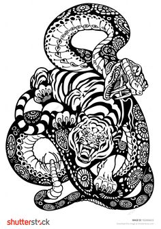 Snake And Tiger Fighting, Black And White Tattoo Illustration - 182666633 : Shutterstock