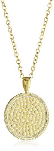 Anna Beck Designs %22Gili%22 18k Gold-Plated Wire Rimmed Medallion Pendant Necklace