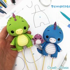 Baby Dino Cake Topper - PDF tutorial with TEMPLATES / cute, fondant, gum paste, dinosaur, figurine, birthday, boy, kids, crocodile, dragon, inspiration, clay, idea, diy, step by step, template, baby shower, Crumb Avenue