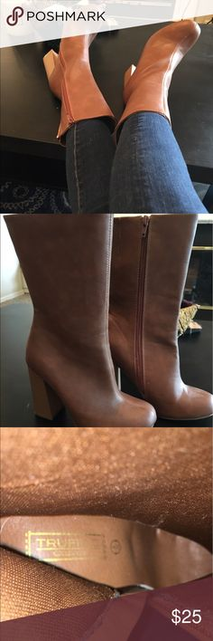 ASOS 70s Style Mahogany Boots Gorgeous 4 inch mahogany brown mid-calf block heel boots from the ASOS Truffle Collection. Worn only once, and in excellent condition, these boots are an absolute steal. A throwback look that will make you feel like a seventies supermodel, a tall heel will make you feel leggy and thin. A boho, hippie, seventies look can become polished with the addition of these gorgeous heels. There's absolutely no wear on the inside, so they're like new. Off season pricing…