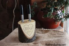 Custom Names and Date Rustic Pen Holder for Wedding Table Guest Book-thatfamilyshop.com #WeddingIdeasOnABudget