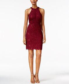 5fbfd2d3493 Nightway Petite Sequined Lace Halter Sheath Dress Petites - Dresses - Macy s