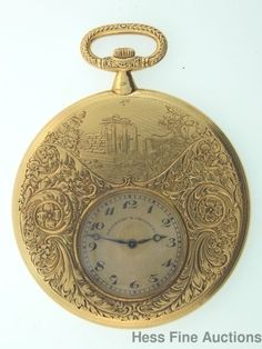 Might work as a pendant!  Rare Antique 14k Gold Florida Touchon Greenleaf Crosby Pocket Watch