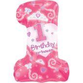 Foil 1st Birthday Princess Balloon 28in