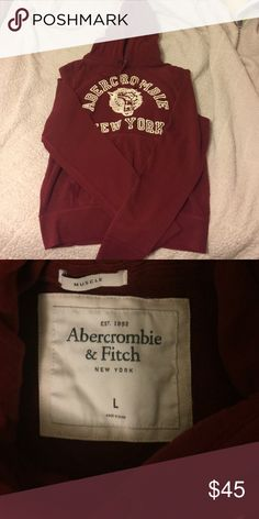 """Abercrombie & Fitch Burgundy Hoodie I wore once as an oversized hoodie (washed kt after). I am 5'6"""" and it come a little down to my thighs. Abercrombie & Fitch Shirts Sweatshirts & Hoodies"""