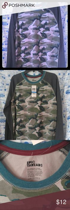 Camouflage boys shirt New Boys t-shirt  Size XL Long sleeve shirt Epic Threads Shirts & Tops Tees - Long Sleeve