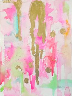 Abstract Watercolor Original Painting Pink by LimezinniasDesign
