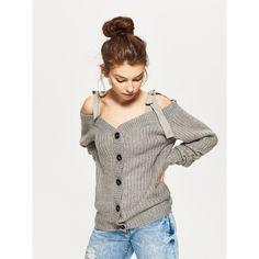 Sweter cold shoulder z ozdobnymi wstążkami, CROPP
